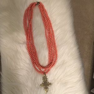 Akola Project Coral Cross Necklace
